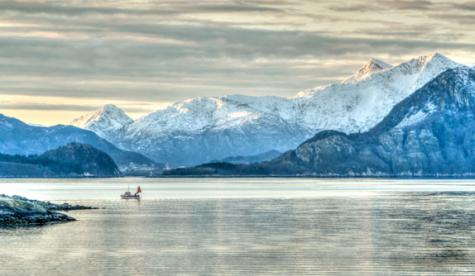 Nordic sea and icy mountains